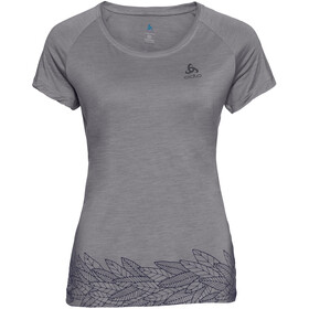 Odlo BL Concord Top Manga Corta Cuello Redondo Mujer, grey melange-leaves on waist print ss19